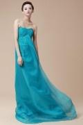 Longue robe de soirée bleu bustier à traîne Watteau