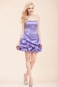 Lila Trägerloses A-Linie kurzes Abendkleider aus Satin