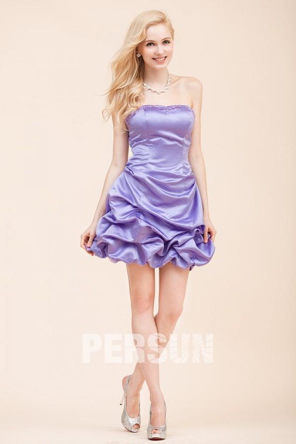 robe demoiselle d'honneur mini lavande bustier embelli de strass jupe brouillonné