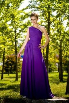 Robe de soirée en Mousseline violette à une épaule