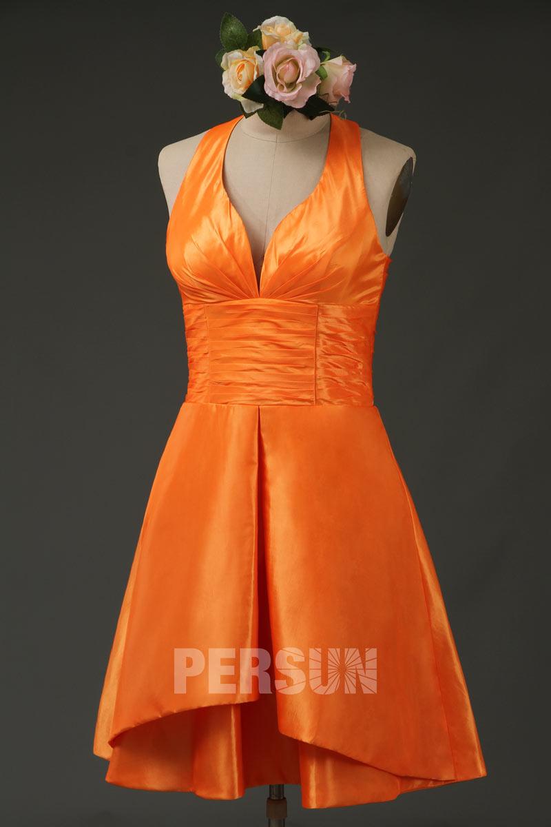 robe de bal orange courte encolure plongeant col américain