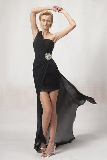 Robe de cocktail courte asymétrique bijoux à la hanche noire
