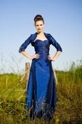 Longue robe de soirée bleu décolleté en cœur