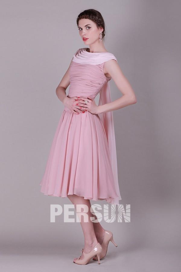 Courte robe de soirée rose ruchés pastel en Mousseline