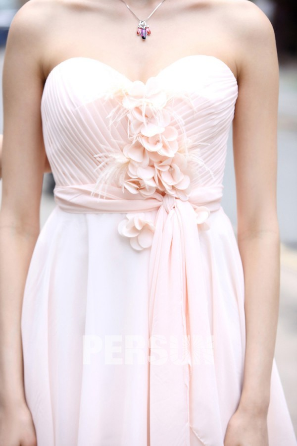 robe bustier rose pale plissé