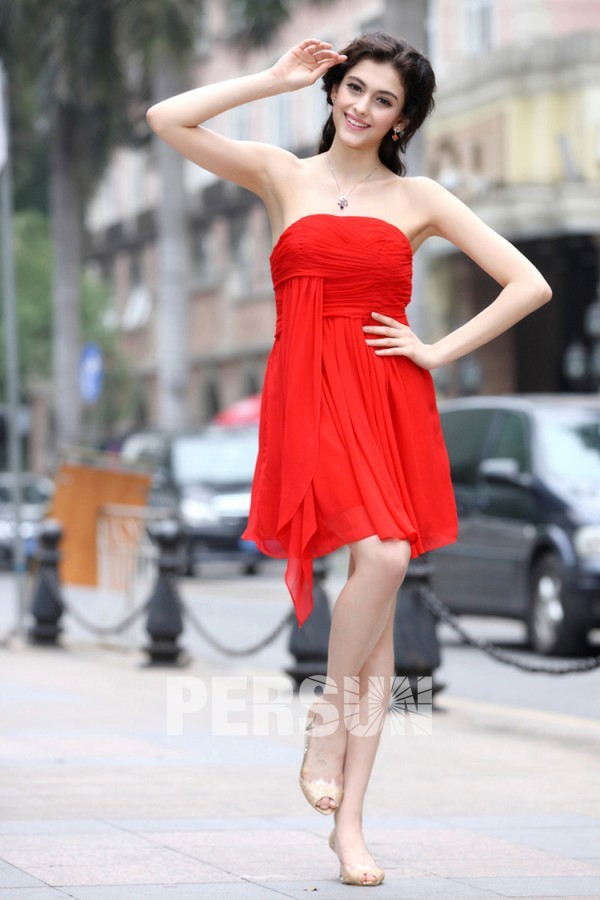 acheter mini robe soirée rouge mousseline courte pas cher