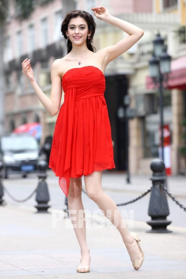 robe bal de promo rouge courte bon prix en ligne