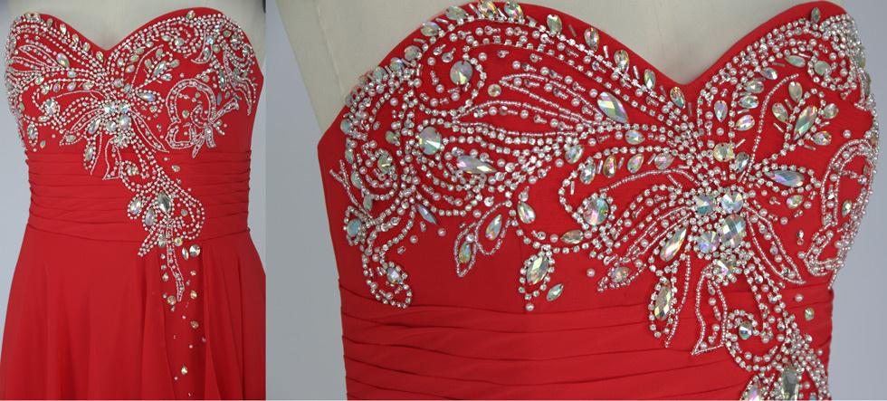 robe de cérémonie rouge bustier cœur orné de perles étincelantes