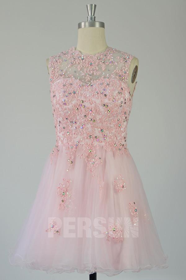 Robe de bal courte rose appliquée à dos ouvert