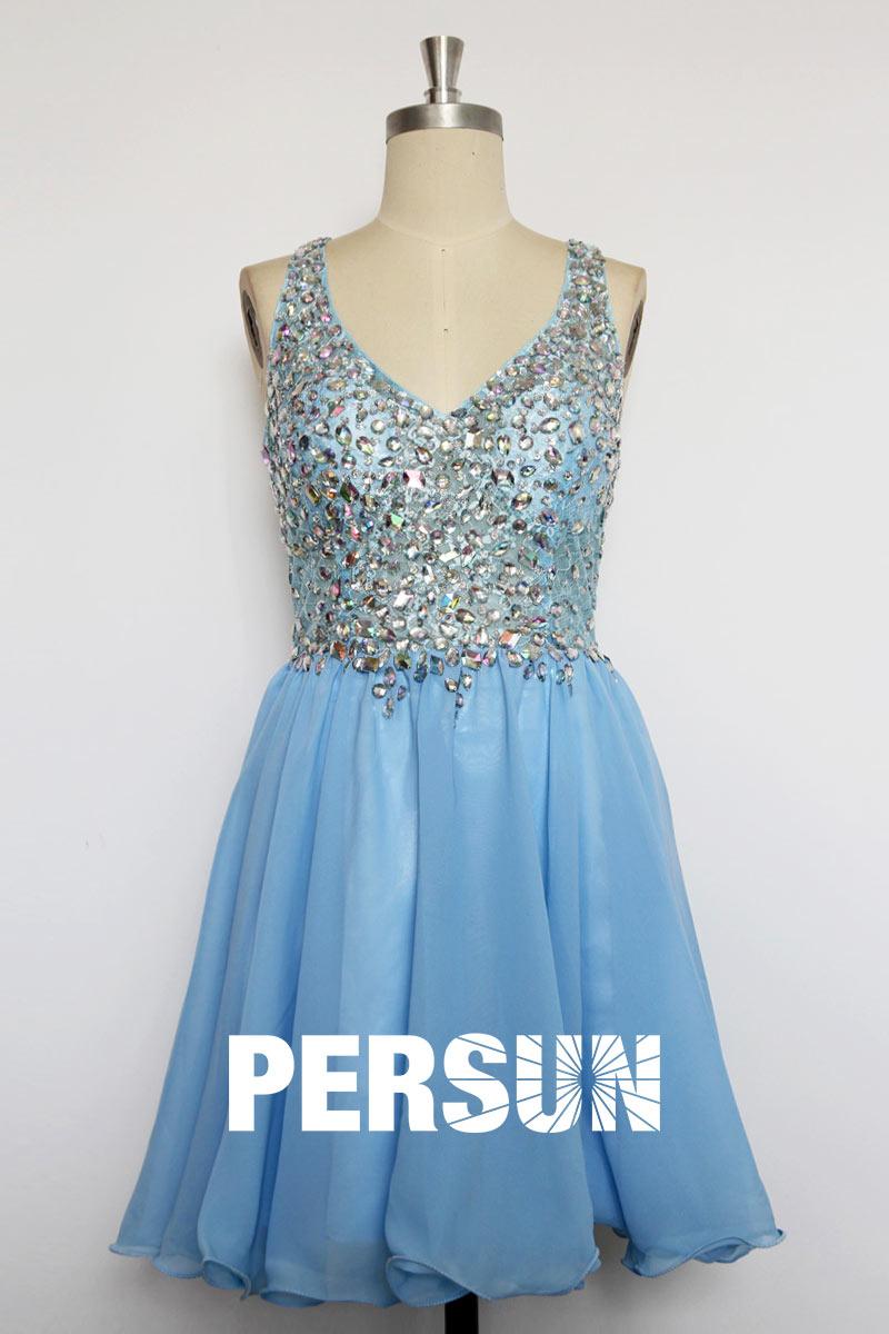Sexy robe de cocktail avec haut recouvert de strass
