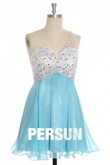 Robe de soirée courte tencel Turquoise