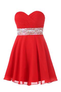 Robe de cocktail rouge plissée courte ornée de strass