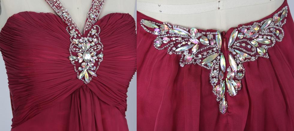 robe De soirée bordeaux plissé & orné de strass