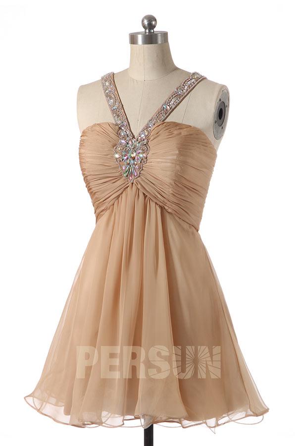 Mini robe bordeaux dos nu avec bretelles bordées en Tencel