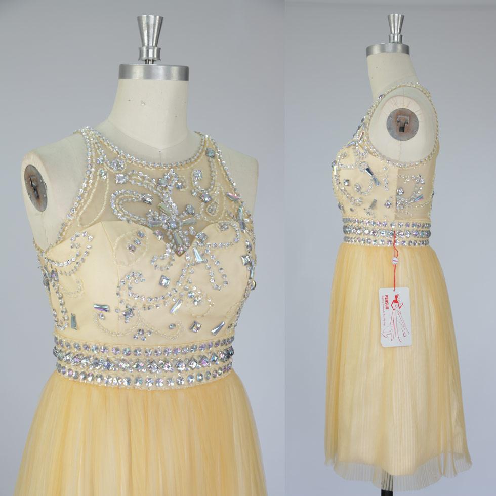 robe de bal courte en couleur jaune