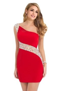 Sexy robe courte rouge ajourée à coupe moulante