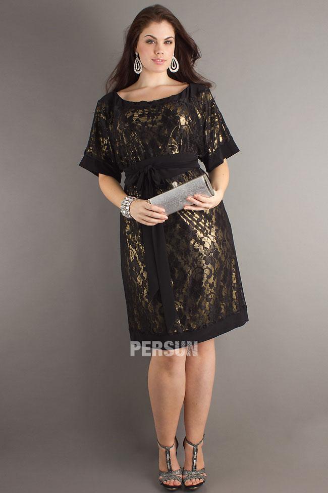 robe soirée grande taille courte dentelle avec manches courtes