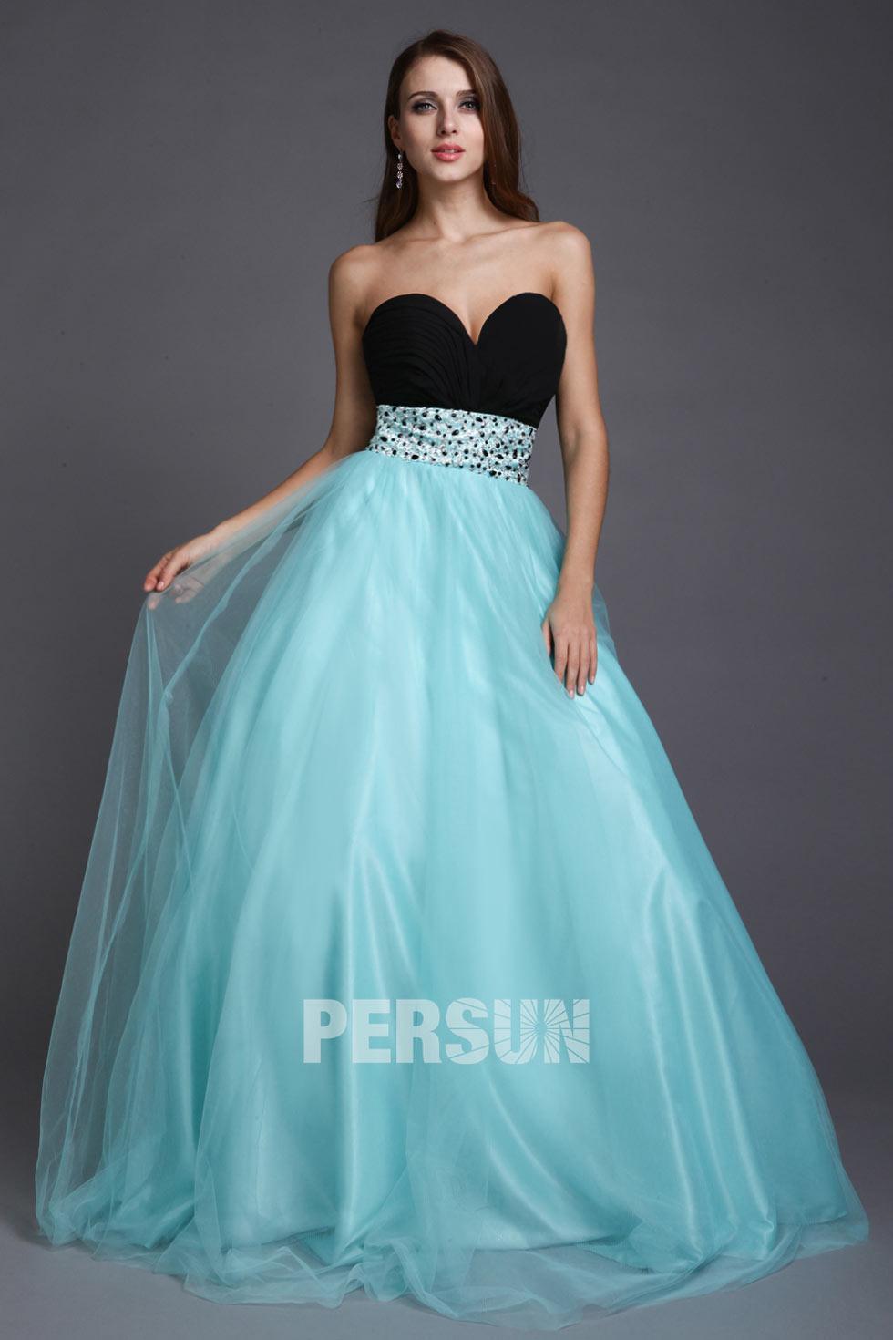 robe bicolore décolleté en coeur pour bal