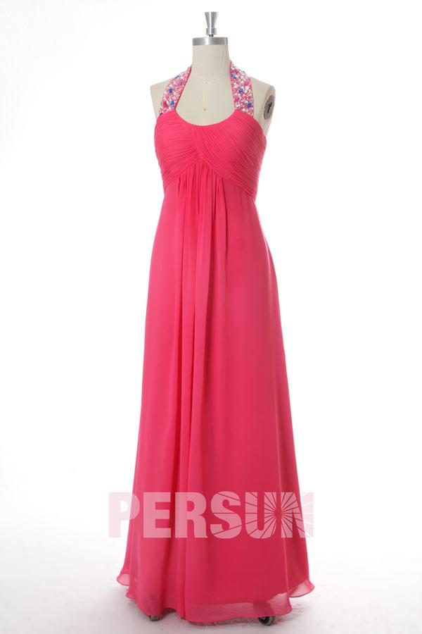 85e1afc8110 Robe rose fuchsia empire col halter ornée de strass - JMRouge.fr