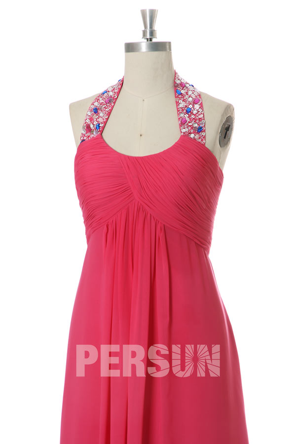 Robe rose fuchsia empire col halter ornée de strass
