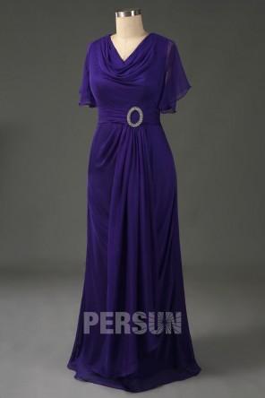 Robe soirée violet indigo pour femme ronde encolure drapé avec mancherons