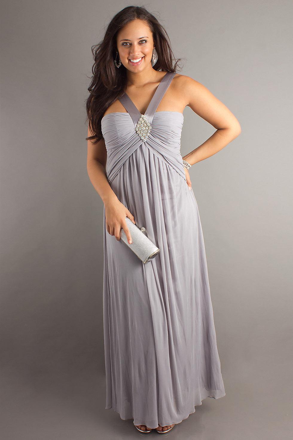 robe de soirée grande taille grise empire col v avec bretelles