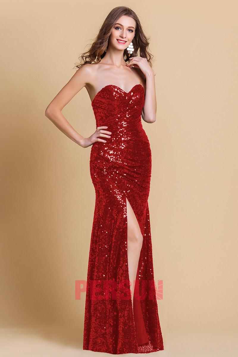 robe de soirée rouge longue fendue bustier coeur en sequin