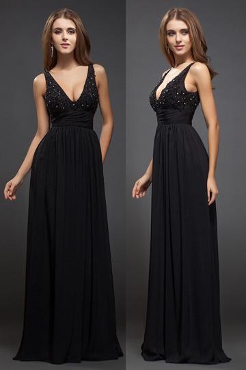 Robe de bal en Mousseline noire pour silhouette A ornée de strass décolletée plongeant
