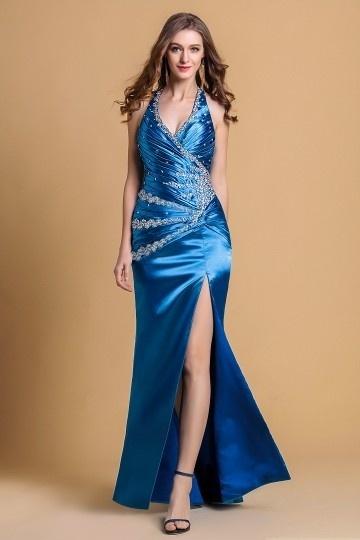 robe de soirée bleu fendue halter orné de strass