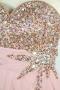Robe de bal des finissantes bustier coeur en Mousseline rose carnation