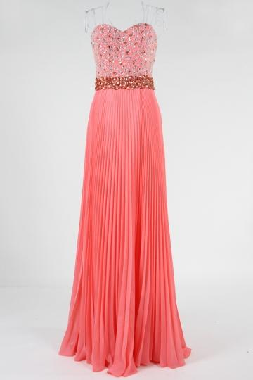 robe demoiselle d'honneur corail plissé bustier coeur orné de strass