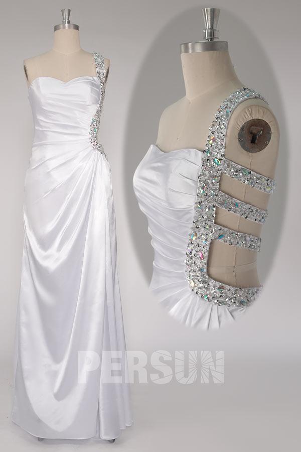 Robe bal moulante sexy épaule asymétrique ornée de bijoux
