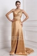 Sequined Beading One Shoulder Elastic Woven Satin A line Evening Dress