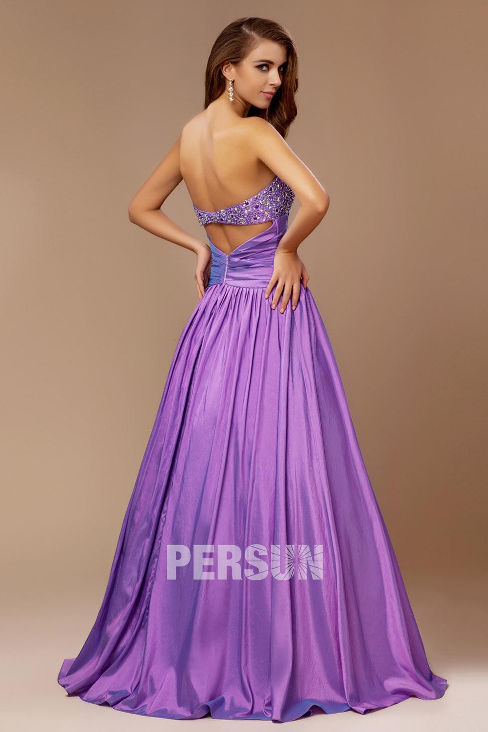 robe longue embellie de sequins & drapée à décolleté coeur
