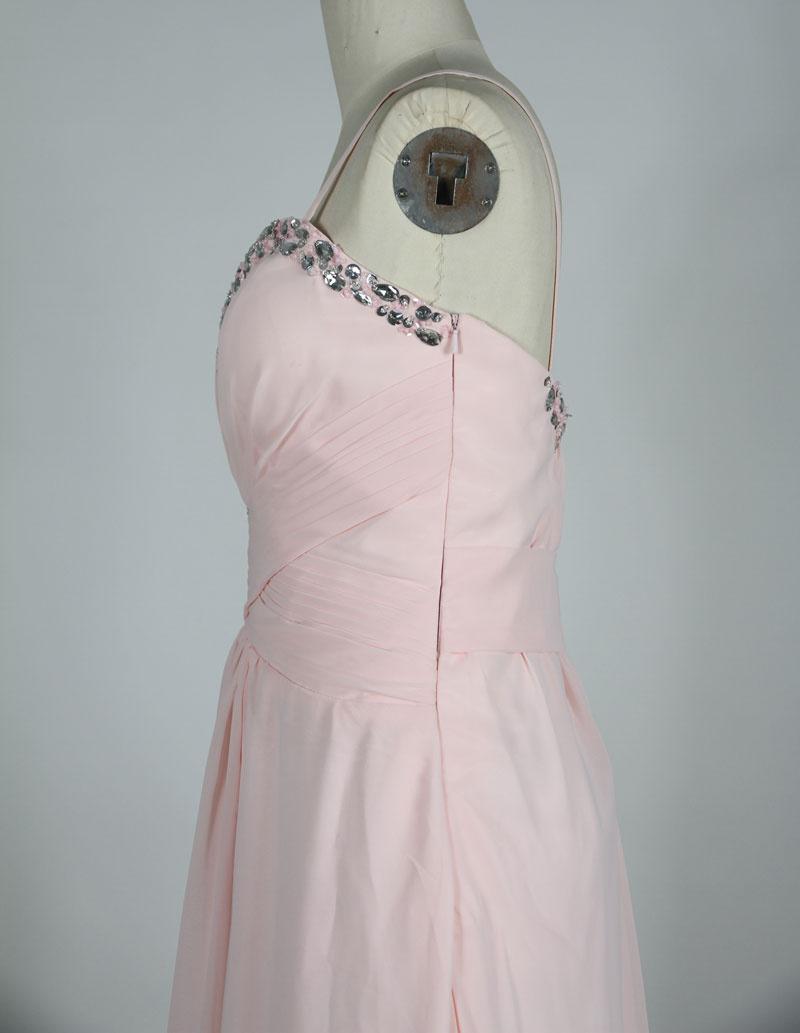 chiffon pink evening dress