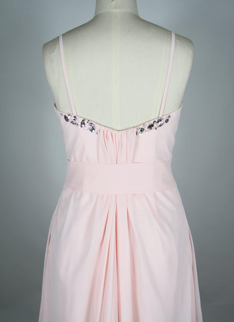 chiffon pink evening dress back design