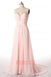 Robe rose pâle longue décolleté en coeur empire à bretelle fine
