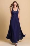 A Linie Rund-Ausschnitt Perlen verziertes Chiffon Abendkleider