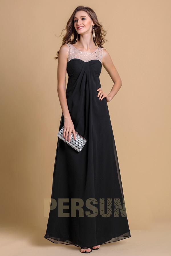 robe de bal longue noire empire col illusion embelli de bijoux