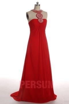 Robe de bal rouge élégante empire en Mousseline à cou embelli de bijoux