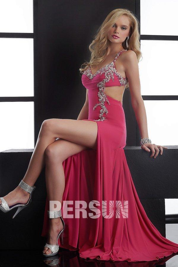 robe découpe côté avec fente bon prix pour bal