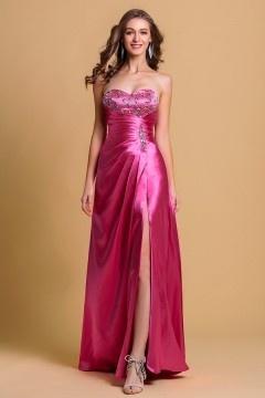 Sexy Robe de soirée rose bonbon bustier coeur avec ouverture frontale