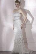 Robe de bal blanche sirène à paillettes sans bretelle avec applique