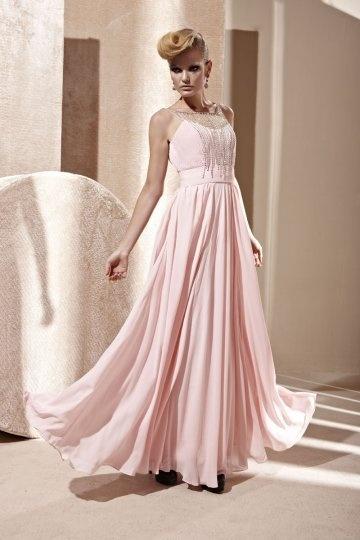 Robe de bal décolletée en coeur en Mousseline rose ornée de bijoux à A-ligne