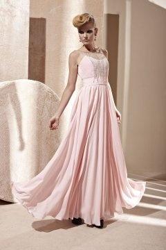 Robe soirée rose en mousseline bustier coeur ornée