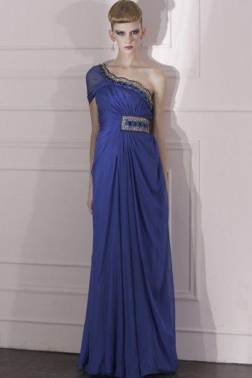 Robe de bal bleu royal moulante asymétrique drapée à paillettes expédié en 24h