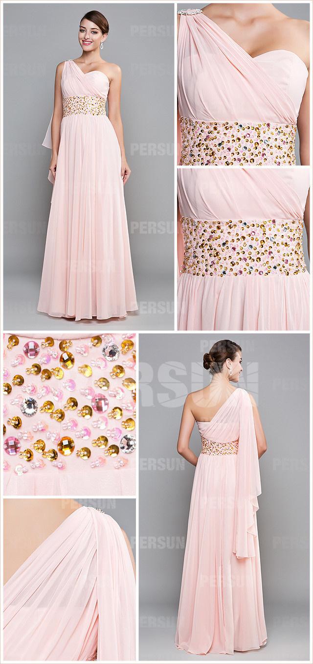 Robe rose de soirée mariage col asymétrique taille en sequin
