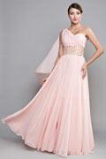 Chic Ein Schulter A-Linie Bodenlanges Chiffon rosa Abendkleider