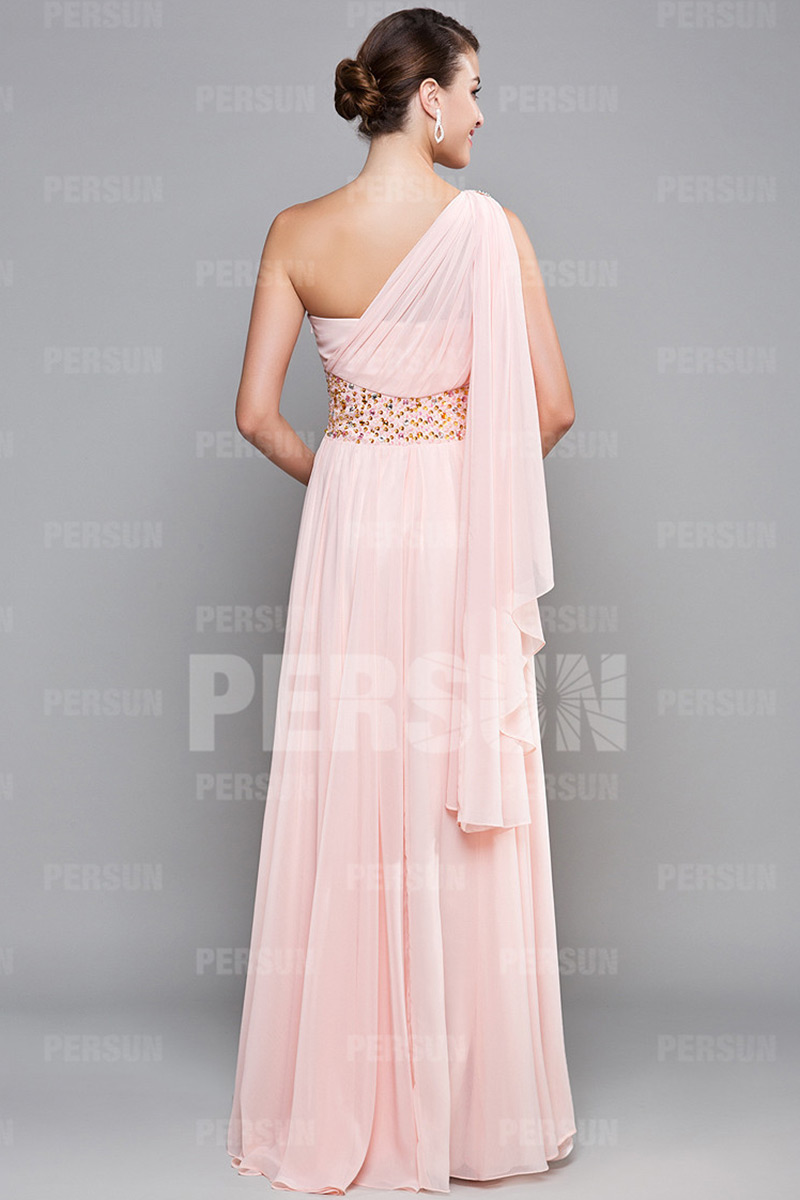 Robe bal longue sol en tencel rose stras épaule asymétrique