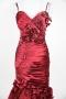 Robe de bal plissée trompette en satin élastique avec détails pétales